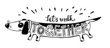 również zwrócić corel ilustracji wektora Pozytyw karta z kreskówka psem Kaligrafii słowa Pozwalają spacer Wpólnie Zabawę Fotografia Stock