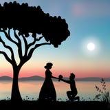 również zwrócić corel ilustracji wektora Proponuje małżeństwo pod drzewem Zdjęcie Royalty Free