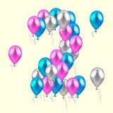 również zwrócić corel ilustracji wektora realistyczni barwioni balony na drugi urodziny Fotografia Royalty Free