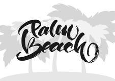 również zwrócić corel ilustracji wektora Rocznik ręki literowania druk palm beach na sylwetce drzewka palmowego tło Zdjęcia Royalty Free