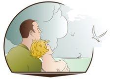 również zwrócić corel ilustracji wektora romantyczna scena Mężczyzna i kobieta na plaży Obrazy Stock