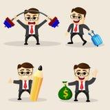 również zwrócić corel ilustracji wektora Set biznesowy mężczyzna w różnych pozach Obraz Stock