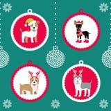 również zwrócić corel ilustracji wektora Set Bożenarodzeniowe piłki z obrazkiem śmieszni zwierzęta Boże Narodzenia obrazują dla d ilustracja wektor