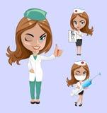również zwrócić corel ilustracji wektora Set lekarki lub pielęgniarka w różnych pozach Obraz Stock