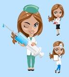 również zwrócić corel ilustracji wektora Set lekarki lub pielęgniarka w różnych pozach Fotografia Royalty Free
