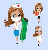 również zwrócić corel ilustracji wektora Set lekarki lub pielęgniarka w różnych pozach Obrazy Royalty Free