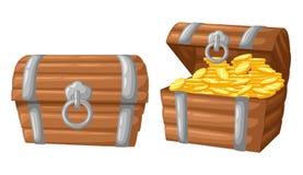 również zwrócić corel ilustracji wektora skarb złociste monety na ciemnego tła Drewnianej klatce piersiowej ustawiającej dla gemo Zdjęcia Stock