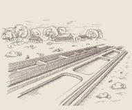 Równoległa ścieżka poręcza linia kolejowa Zdjęcie Royalty Free