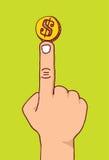 Równoważenie moneta na palcu lub pieniądze Fotografia Stock