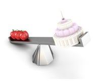 Równowaga z jabłkami i tortem 3d odpłacają się wizerunek odizolowywają Zdjęcia Royalty Free