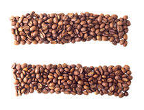 Równy znak od kawowych fasoli Fotografia Royalty Free