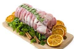 Rôti de veau avec le romarin image libre de droits
