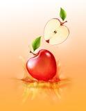 Röd äppledroppe på fruktsaftfärgstänk och krusning, realistisk frukt och yoghurt som är genomskinliga, vektorillustration vektor illustrationer