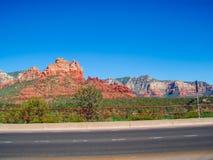 Röd ökenvägsikt Arkivbilder