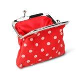 Röd öppen handväska, plånbok som isoleras på vit med banan Arkivfoto