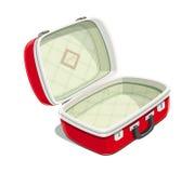 Röd öppen resväska för lopp royaltyfri illustrationer