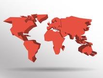 Röd översikt 3D av världen med tappad skugga på bakgrund Världsomspännande tematapet Framförd tredimensionell EPS10 Arkivbild