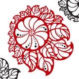 Röd abstrakt blomma med svarta prickar Royaltyfria Foton