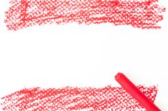 Röd abstrakt textur som göras med den pastellfärgade pinnen Arkivbild