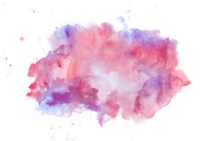 Röd abstrakt vattenfärg och violettefläck Royaltyfri Fotografi