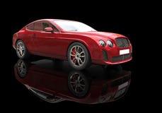 Röd affärsbil på svart bakgrund Arkivbilder
