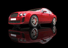Röd affärsbil på svart bakgrund Royaltyfri Bild