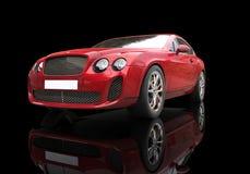 Röd affärsbil på svart bakgrund Arkivbild