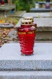 Röd allvarlig stearinljus Royaltyfria Bilder