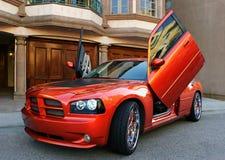 Röd amerikansportbil royaltyfri foto