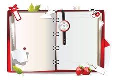 Röd anteckningsbok stock illustrationer