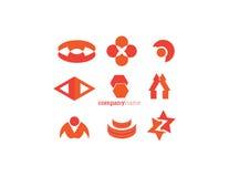 Röd apelsin för logobeståndsdeluppsättning Royaltyfria Foton