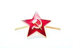 Röd armé för stjärna, sovjet, kakardasoldater som isoleras på en vit bakgrund Royaltyfri Foto