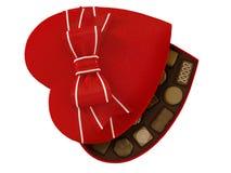 Röd ask för hjärtagodischoklader Royaltyfria Bilder