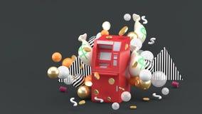 Röd ATM bland pengarna och färgrika bollar på den gråa bakgrunden vektor illustrationer