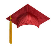 Röd avläggande av examenhattframdel Royaltyfri Fotografi