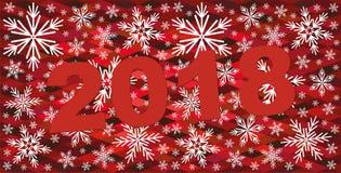 Röd bakgrund för abstrakt jul med snöflingor 2018 firar bakgrund Fotografering för Bildbyråer