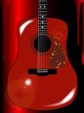 Röd bakgrund för akustisk gitarr Royaltyfri Bild