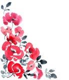 Röd bakgrund för blommahälsningkort stock illustrationer