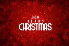 Röd bakgrund för glad jul med snöflingor royaltyfri foto