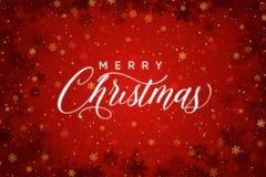 Röd bakgrund för glad jul med snöflingor royaltyfri bild