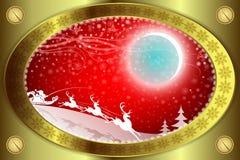 Röd bakgrund för jul med den guld- kanten stock illustrationer