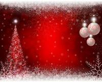 Röd bakgrund för jul med julgranen, bollar och snöflingor Fotografering för Bildbyråer