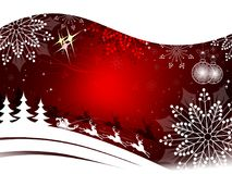 Röd bakgrund för jul med Santa Claus i en släde på en hjort Arkivfoton