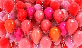 Röd bakgrund för många ballonger Arkivfoton