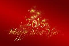 Röd bakgrund 2015 för nytt år med guld- bokstäver Fotografering för Bildbyråer