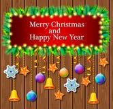 Röd bakgrund för nytt år med klockan och julträdet stock illustrationer