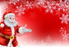 Röd bakgrund för Santa julSnowflake Arkivfoton