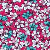 Röd bakgrund för vektor med gråa och cyan sakura för den körsbärsröda blomningen blommor för ljus - och som är mörkt - sömlös mod stock illustrationer