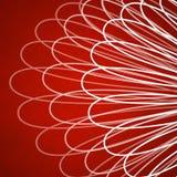 Röd bakgrund med abstrakt begrepp snör åt modellen av vit buktade linjer Arkivbild