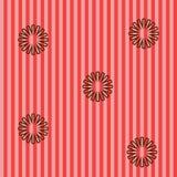 Röd bakgrund med bruna blommor Arkivbild
